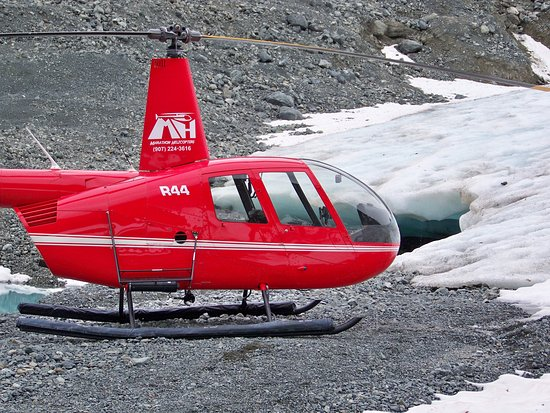 Seward, AK: Helicopter landed at the bottom of glacier