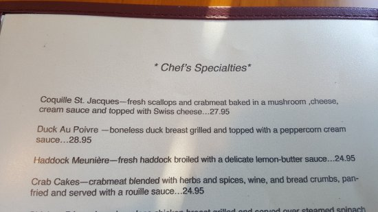 Chez Michel Restaurant: menu