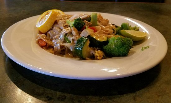 Eagle, ID: Pan-fried Thai basil noodles.