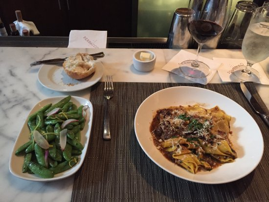 Perbacco: short rib pappardelle and sauteed snap peas.