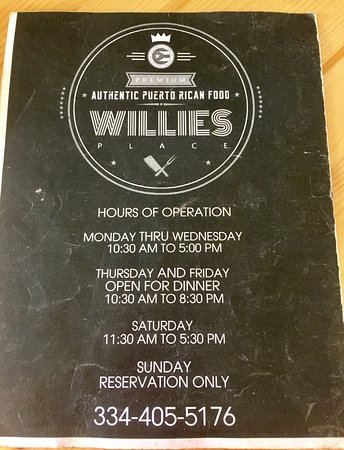 Willie's Place (Dothan, AL) Menu Page 4 of 4