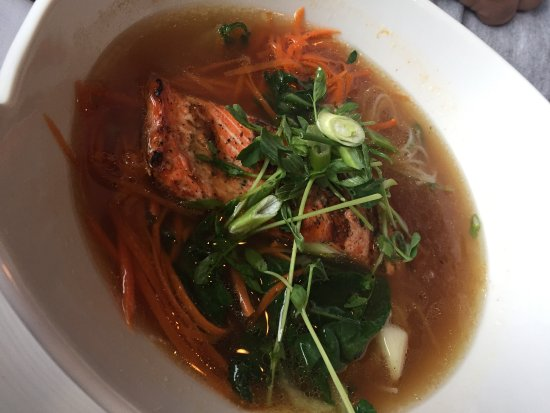 Port Hardy, Canada: This was the salmon soup with noodles. The broth was amazing!