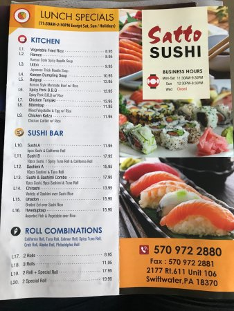 Swiftwater, PA: Satto Sushi