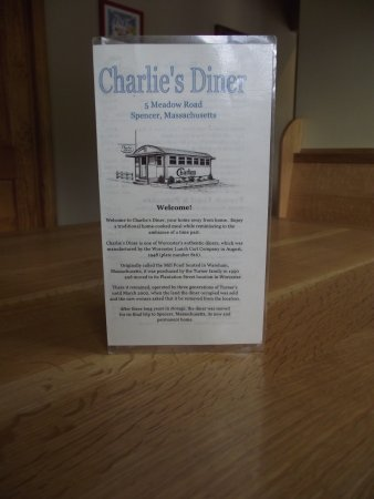 MASSACHUSETTS - SPENCER - CHARLIE'S DINER – MENU COVER