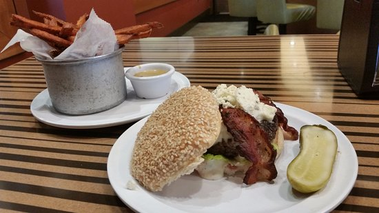 Bethesda, MD: Bleu cheese & bacon burger with sweet potato fries