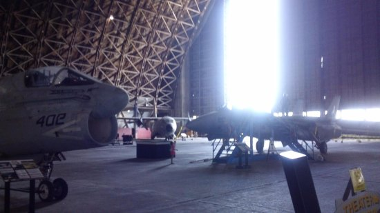 Tillamook, OR: Corvair on left used in the Gulf War and F-14Wildcat (TOP GUN) on right in hangar