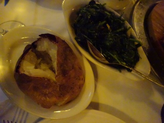 Keens Steakhouse: Baked potato and spinach