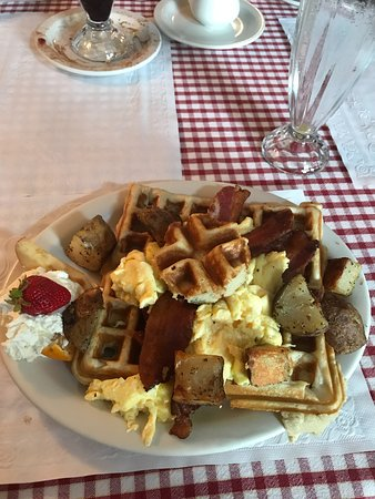 "Proctorsville, VT: ""Lazy Hen"" Waffle, Egg and Bacon with home fries"