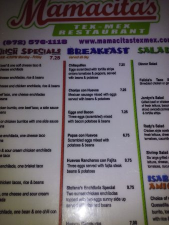 Red Oak, TX: half the menu dinner on other side