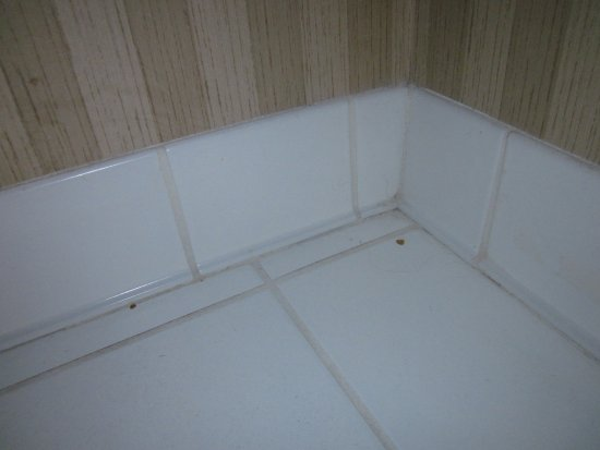Wingate by Wyndham Charlotte Airport South/ I-77  Tyvola: Spots on floor underneath bathroom sink/vanity