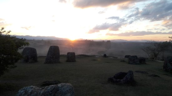 Phonsavan, Laos: Sunset at plain of jars