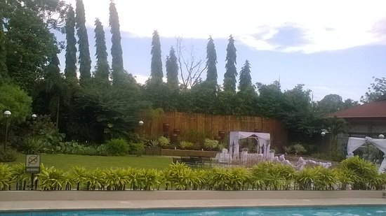 Hotel Tropika Davao: garden area to sit and relax, there are benchs around the outside of the lawn area