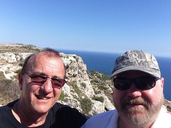 Dingli, Malta: close up of us at the Cliffs