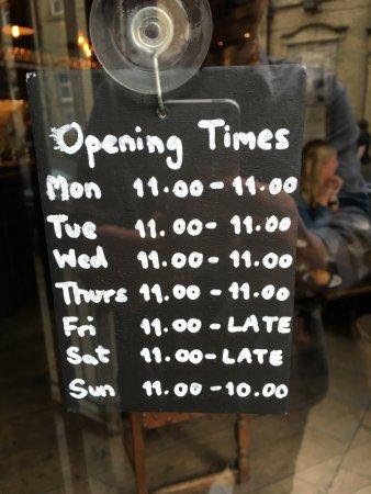Halifax, UK: Opening Times