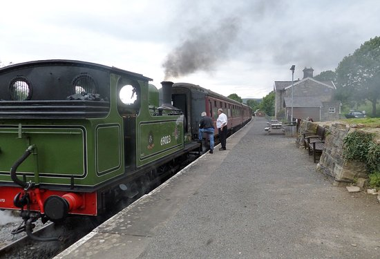 Redmire Station with train for Leeming Bar