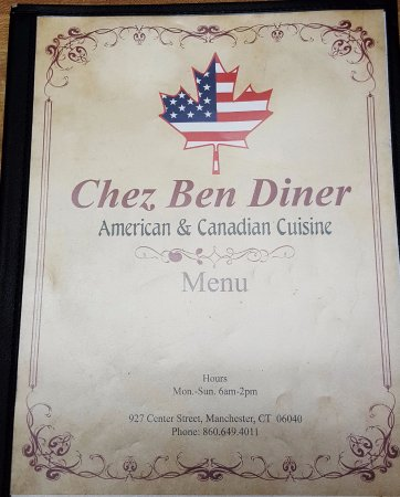 Manchester, CT: Menu Cover