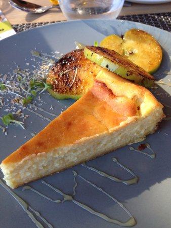 Durbanville, South Africa: Lemon and ricotta tart with sliced apple garnish