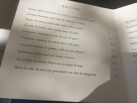 Carta Picture Of Restaurante Casa De Fieras Madrid