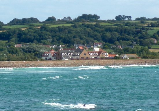 Castel, UK: View of La Grande Mare from the nearby fort.