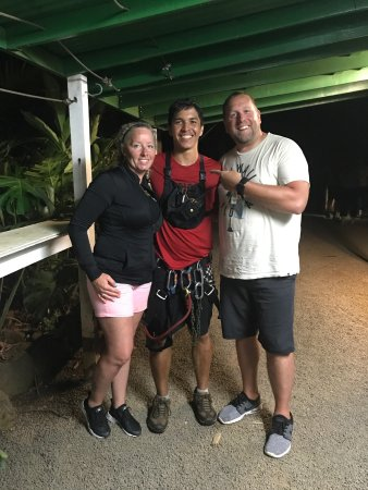 Koloa, Hawaje: Austin and Jack were awesome guides, zipline before but never at night and in the rain, was cool