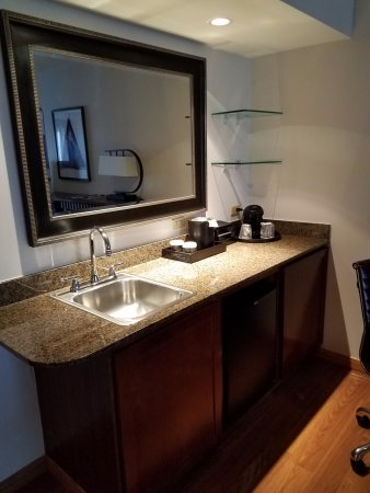 Emby Suites By Hilton Anchorage Wet Bar With Refrigerator And Microwave