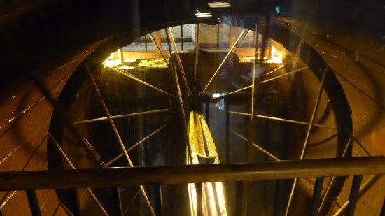 Styal, UK: Inside water wheel (22ft wide)