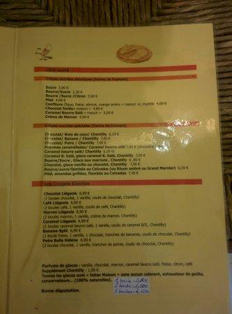 Sollies-Pont, Francia: Carte menu dessert