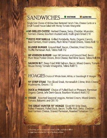 Monroe, WI: Minhas Kitchen Menu Sandwiches Hoagies