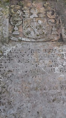 Cloughey, UK: An old headstone at Slans Graveyard.