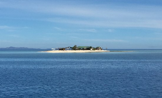 Denarau Island, Fiji: This is the island, big enough for two wooden buildings, so very small.
