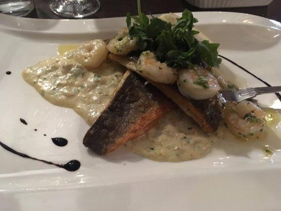 Wooler, UK: Sea Bass and Prawns