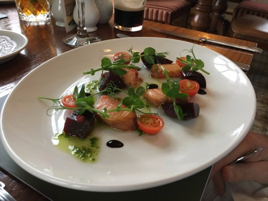 The Woodhouse Arms: Salmon and beetroot salad with wasbi mayo
