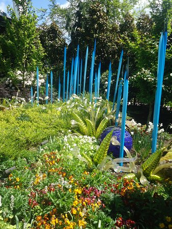 Blown glass blended into gardens - Picture of Chihuly Garden and ...