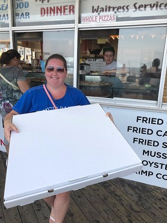 "Maruca's Pizza: The 24"" pizza box was challenging to carry, but worth it!"