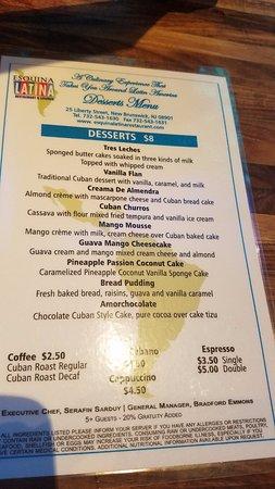 New Brunswick, NJ: dessert menu