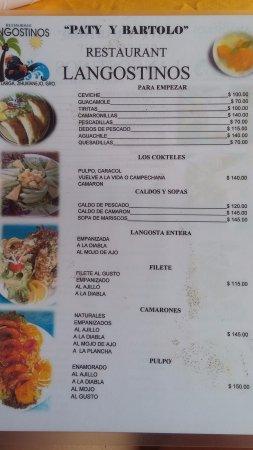Playa Larga : Lista de precios de uno de los locales de comida
