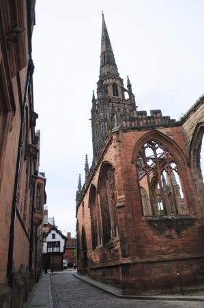 Coventry, UK: The cathedral spire from Bayley Lane