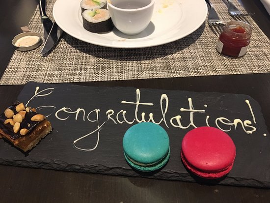 Cafe Opera: the congratulations platter that was delivered to my daughter.