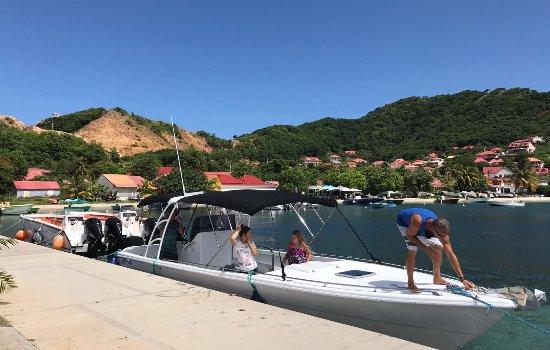 Caraibe Evasion: Arriving at Terre-de-Haut, Les Saintes on Nico's amazing powerboat!