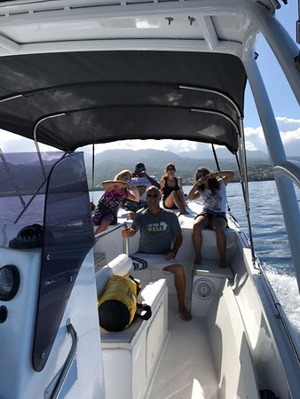 Pointe-Noire, Guadeloupe: Having fun and listening to music on the boat