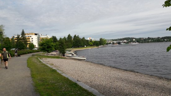 Kuopio, Finland: Hotell on the left, lake on the right and me coming back from an enjoyable morning walk