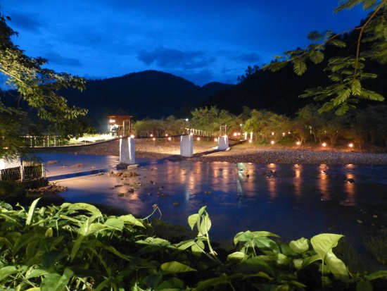 Muang La, Laos: Bridge to swimming pool