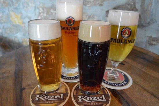 Slunj, Croatia: 4 types of draft beer (KOZEL - light/dark, PAULANER - light/wheat