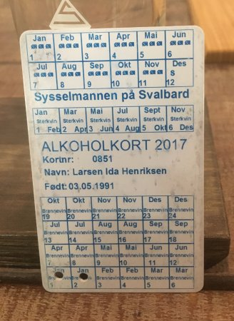 Longyearbyen, Norwegia: Alcohol ration card