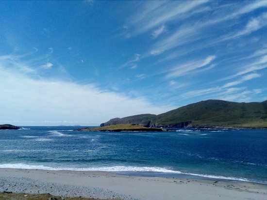 Cahersiveen, Ireland: The most beautiful beach on Beginish, Valentia Harbour, with Blaskets in background.