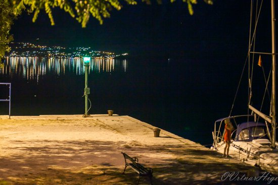 Morinj, Montenegro: Small pier with the light signal.
