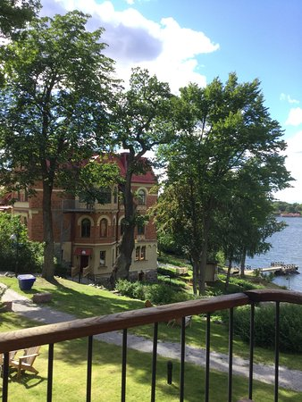 Nacka, Sweden: View looks out to the building where breakfast is served on two floors with views over the sea.