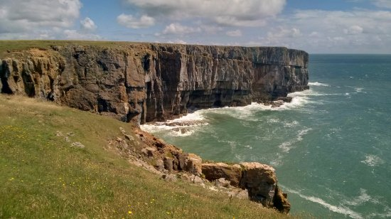 St Davids, UK: Looking back to Stackpole Head