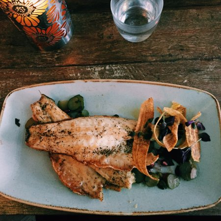 Chicha: Whole roast seabass, salsa verde, Plantain chips