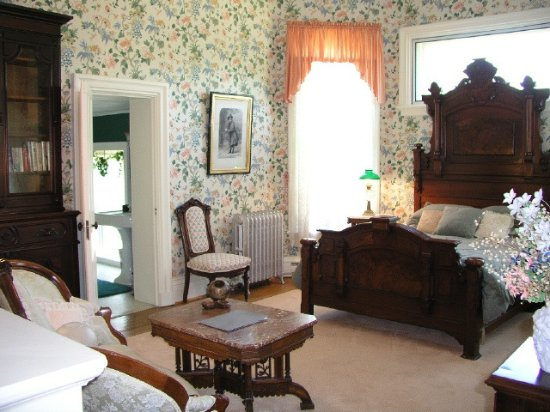Westfield, NY: The Renaissance Suite, High Victorian furnishings, ten foot windows offering a room of light